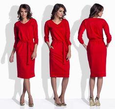 Vypasované šaty v červenej farbe 157