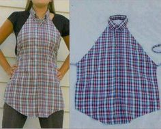 I want one of these...  Men's shirt to apron refashion!  Would be great Mom's day gift !!!