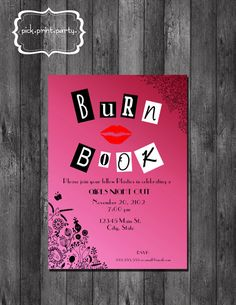 Girls Night Out, Birthday, Bachelorette Party, Bridal Shower Invitation - Mean Girls Inspired Burn Book - DIY - Printable Mean Girls Party, Bachlorette Party, Bachelorette Parties, Dream Wedding, Wedding Day, Before Wedding, Girls Night Out, Ladies Night, Bridal Shower Invitations