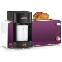 How cool to put in a dorm room! Bella - Toast and Brew Breakfast Station - Purple - - Best Buy Purple Kitchen Decor, Purple Kitchen Accessories, Purple Toaster, Breakfast Station, New Egg, Purple Home, Small Appliances, Dish Towels, Decorative Items