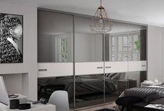 Premium Mini: 3 panel Fineline Grey Mirror / Cashmere with Titanium frame