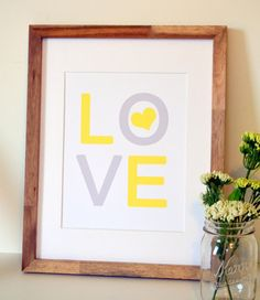 Love print  11 x 14 Yellow and grey print  Simple by laceyfields, $13.00