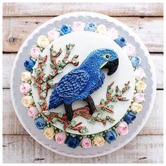 Live with nothing to prove Buttercream Cake, Fondant Cakes, Cupcake Cakes, Fancy Cakes, Cute Cakes, Doraemon Cake, Bird Cage Cake, Foundant, Bird Cakes