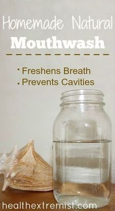 Natural Mouthwash Recipe - Fights cavities, bacteria & freshens breath This homemade natural mouthwash is very easy to make and inexpensive. It contains all natural ingredients that help freshen your breath and prevent cavities Herbal Remedies, Health Remedies, Home Remedies, Natural Remedies, Homemade Mouthwash, Homemade Toothpaste, Natural Toothpaste, Homemade Facials, Coconut Oil Mouthwash