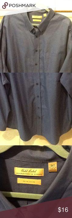 Men's Big 3XT Royal Blue Business Dress Shirt Royal blue tiny check size men's big and tall 3XT. Business dress shirt in great condition. Front pocket. Roundtree & Yorke Shirts Dress Shirts