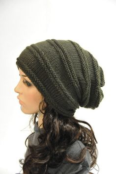 Hand knit hat Chunky Olive Green Wool Hat by MaxMelody on Etsy Вязание Шапки 7c2006d0a54ef