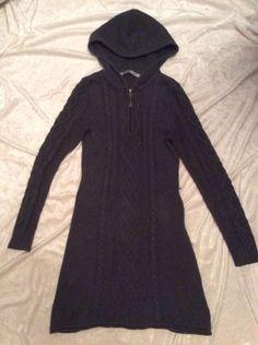 Athleta Sweater Dress Cable Knit Small Womens Hooded Dark grey riding hood #Athleta #SweaterDress