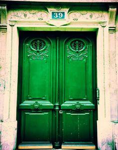Photograph of a rustic, emerald green door in the Latin Quarter, Paris, France. I want emerald doors. Old Doors, Windows And Doors, Entry Doors, Exterior Doors, Entryway, Green Front Doors, Porte Cochere, Unique Doors, Door Knockers