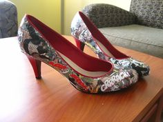 DIY comic books heels, using mod podge