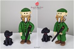 Hunter and his Lab fondant figurine, by Red Polka-Dot Designs (hunter design inspired by Totally Toppers)