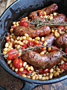 Sausage and White Bean Cassoulet. An uncomplicated and utterly delicious sausage and white bean cassoulet. Slow Carb Recipes, Slow Carb Diet, Sausage Recipes, Pork Recipes, Cooking Recipes, Healthy Recipes, Le Cassoulet, Gula, Gastronomia