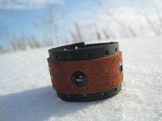 Leather black brown genuine leather bracelet  by RozaBracelets, $13.00