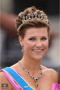 Princess Martha Louise of Norway, wearing her mother's amethyst tiara to the wedding of Crown Princess Victoria of Sweden in 2010.
