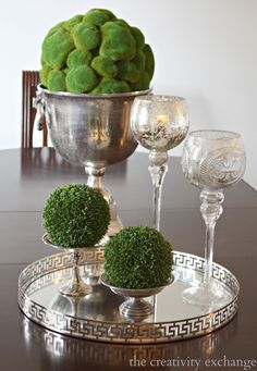 Moss balls in urn and candy dishes The Crea. Moss balls in urn and candy dishes The Creativity Exchange Bucket Centerpiece, Dining Room Table Centerpieces, Table Arrangements, Dining Table, Tray Styling, Champagne Buckets, Kitchen Paint Colors, Silver Trays, Tray Decor