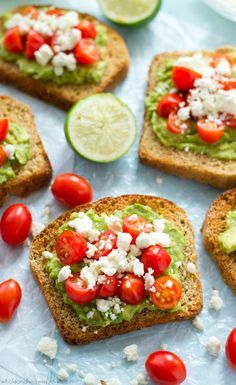 Greek Avocado Toast with Cherry Tomatoes from http://wholeandheavenlyoven.com on http://foodiecrush.com