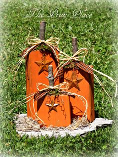Primitive Wooden Pumpkin Fall Decor by theprimplace on Etsy