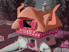 Disney's Alice in Wonderland (1951) at the White Rabbit's cottage