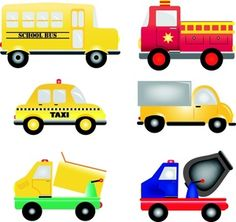 Vehicles Clipart Image: Cartoon trucks, busses and cars - work vehicles