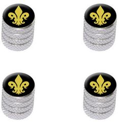 """(4 Count) Cool and Custom """"Diamond Etching Gold Fleur de Lis Top with Easy Grip Texture"""" Tire Wheel Rim Air Valve Stem Dust Cap Seal Made of Genuine Anodized Aluminum Metal {Silver and Black Colors}"""