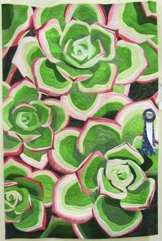 """First Place Contemporary Quilts, 2014 Western Carolina Quilt Show -""""Succulents""""  by Kim Juran, quilted by Rachel Reese"""