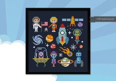 Dad, I want to be an astronaut! This cute little cross stitch sampler is perfect for the kids room! It can be framed or turned into a little pillow! rnIt includes both the boys and girls version! rnrn This listings is for a virtual pattern that