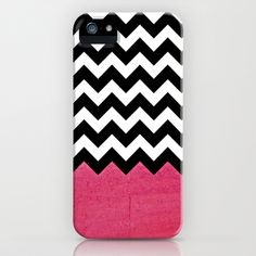 Trendy Pink Girly Chevron Pattern iPhone Case by Doodle's Designs - $35.00    Black and white chevron zigzag pattern with a pink texture background fully on one edge.