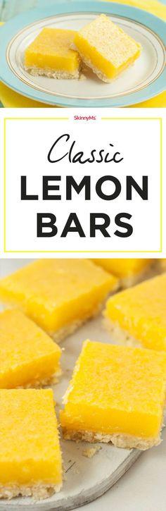 If you're craving lemon meringue pie, try thesesimple and delicious Lemon Meringue Pie Parfaitsfor a healthy twist on the original!) #lemonbars #classic simple #dessertrecipe #skinnyms #skinnydessert