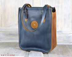 Blue and Orange Handcrafted Top Grain Leather Tote, Real Leather Designer Shoulder Bag, Leather Carryall Bag - AVIA by Vericone
