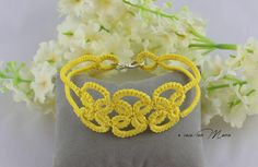 Bracciale giallo yellow Bracelet bracciale in pizzo