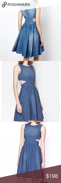FRENCH CONNECTION    SIDE CUTOUT DENIM DRESS Blue Ash Denim Dress (NWT) The side cutouts give this basic dress a welcomed edge and the perfect dress for casual occasions. SZ 4 -Will consider reasonable offers.   100% Cotton Imported Dry Clean Only Side Cut Outs Sleeveless French Connection Dresses