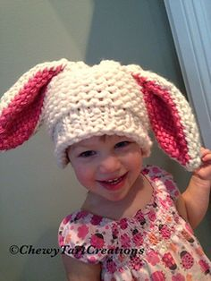 Floppy Bunny hat LOOM knit pattern includes step by step instructions to create this adorable Bunny hat, with big floppy ears. Includes resizing instructions as well.