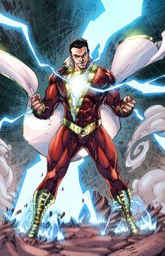 Shazam by Brett Booth Marvel Dc Comics, Comic Book Superheroes, Dc Comics Superheroes, Dc Comics Characters, Dc Comics Art, Comic Book Heroes, Magik Marvel, Dc Comics Girls, Captain Marvel Shazam