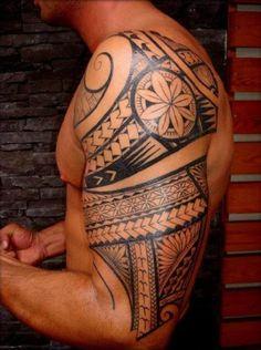 Man Maori Tattoo Shoulder Arm #Tattoo, #Tattooed, #Tattoos