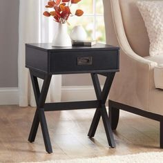 Modern & Stylish X-Leg One-Drawer Accent/ Side Table or Nightstand in BLACK, 24-in (61cm) High