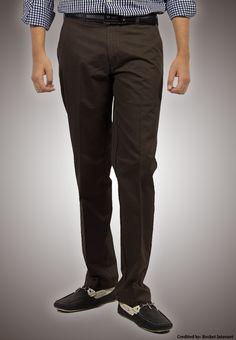 """Bien Habille IRONEEZEE Deep Mahagony """"Comfort Fit"""" Wrinkle Free 100% Cotton Trouser Permanent Crease #men #style #fashion #menswear #Pants #Jeans #trousers #onlinemela www.onlinemela.pk Order Now: +92-334-333-6352"""
