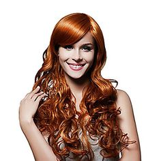Capless Long To Waist Quality Synthetic Golden Brown Curly Wig Full Bang