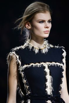 Panelled dress with fringe trim, textured fashion details // Lanvin Fall 2015