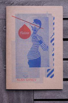 "Fatima  by Alan Ganev    $10.00   5"" x 7""   Loop Staple Binding   Teal Risograph Printed on 160M Kraft Paper    http://shop.paperpusher.ca/product/fatima-alan-genev"