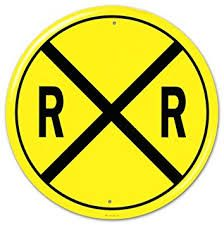 Railroad Crossing RR X-ing Round Wall Signs Tin Sign - 30 x 30 cm Michel Tremblay, Train Room, Poster Art, Hobby Room, Decorative Signs, Thomas And Friends, Tin Signs, Wall Signs, Metal Tins