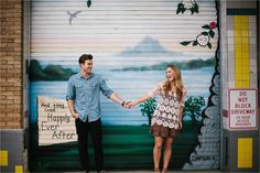 A colorful, urban, romantic, ethereal engagement sesison in Deep Ellum and White…