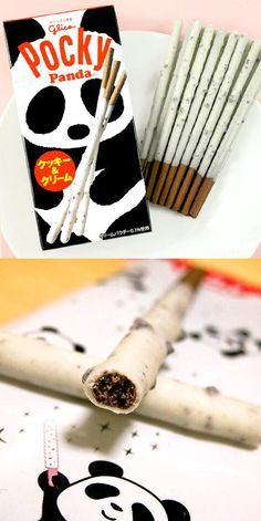 """""""Panda"""" Pocky- cookies and cream. These would make a good snack, especially to go with the anime Panda! Go Panda!"""