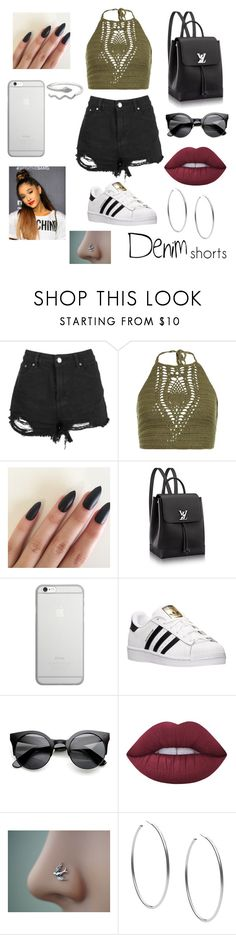 """Untitled #282"" by kamiyaaaa ❤ liked on Polyvore featuring New Look, Native Union, adidas, Lime Crime, Michael Kors, jeanshorts, denimshorts and cutoffs"