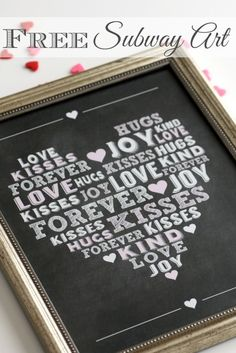 Free printable chalkboard subway art, perfect for Valentine's Day or as a gift! See more party ideas at CatchMyParty.com. #valentinesday #freeprintable