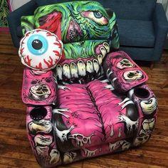 zombie bag chair lazy boy alternative home accessory pink zombie sofa horror halloween halloween decor