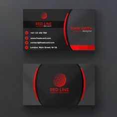 Corporate red and black business card PSD file