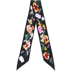 Rockins floral print scarf (2.085 ARS) ❤ liked on Polyvore featuring accessories, scarves, black, silk scarves, pure silk scarves, rockins scarves, floral print scarves and floral shawl