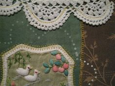 """Fabric collage in embroidery hoop DETAIL: Duck Pond fabric collage framed with embroidery hoop 7"""" circle $15.00"""