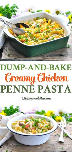 You don't even have to boil the pasta for this 10-minute Dump-and-Bake Chicken Penne Pasta! Chicken Breast Recipes | Casserole Recipes | One Pot Meals | Dinner Recipes #pasta #chicken #casserole #dinner #TheSeasonedMom