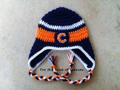 Chicago Bear's Crochet Earflap Hat