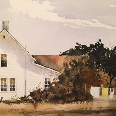 Detail of watercolor 13x9inches.  #watercolor #watercolour #aquarelle #aquarela #painting #clothingline #clothesline #farmhouse #michigan #crookedtree by michaelshanelowery